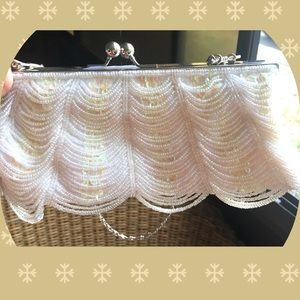Vintage Swag Clutch Bag Purse Sequins Seed Beads